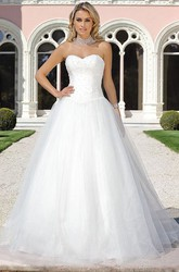 Ball Gown Sweetheart Long Tulle Wedding Dress With Beading