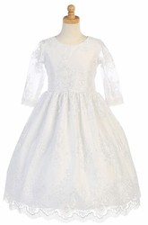 Embroideried Tea-Length Long-Sleeve Tiered Tulle&Lace Flower Girl Dress