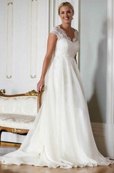 A-Line V-Neck Cap-Sleeve Lace&Chiffon Wedding Dress With Illusion