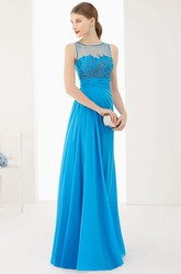 Jewel Neck A-Line Pleated Chiffon Long Prom Dress With Appliques And Bandage