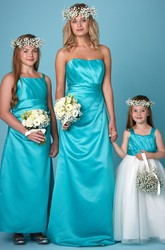 Sheath Draped Strapless Satin Bridesmaid Dress