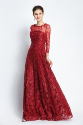 Floor-length Long Sleeve A-Line Bateau Scalloped Lace Prom Dress with Sequins