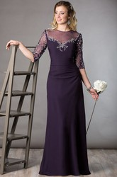 High Neck Half Sleeve Sheath Long Mother Of The Bride Dress With Embroidery And Crystal