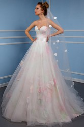A-Line Sweetheart Tulle Wedding Dress With Flower And Lace Up