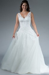 V Neck Drop Waist A-Line Tulle Bridal Gown With Applique Top And Crystal