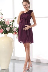 Empire Chiffon One Shoulder Short Bridesmaid Dress With Flower And Ruching