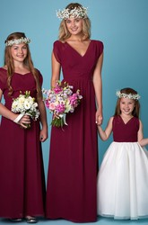 Ruched V-Neck Short Sleeve Chiffon Bridesmaid Dress
