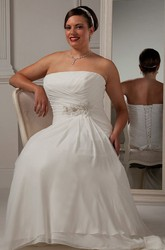 Strapless Lace-up Bridal Gown With Flower And Crystal