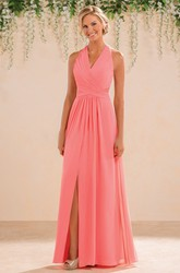 Halter A-Line Floor-Length Chiffon Bridesmaid Dress With Front Slit