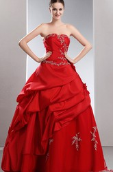 Strapless Layered Ball Gown Satin Prom Dress With Ruffles and Beading