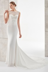 Jewel-Neck Brush-Train Sheath Satin Wedding Dress With Illusive Neckline And Back