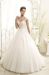 Ball Gown Long Appliqued Cap-Sleeve Tulle&Lace Wedding Dress