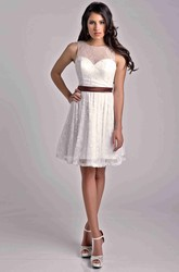 Lace A-Line Short Sleeveless Bridesmaid Dress With Satin Bow Sash