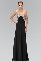 A-Line Sweetheart Sleeveless Empire Chiffon Backless Dress With Beading