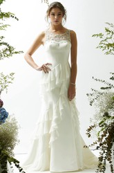 Sheath Maxi Sleeveless Scoop Cascading-Ruffle Satin&Chiffon Wedding Dress With Illusion Back And Beading
