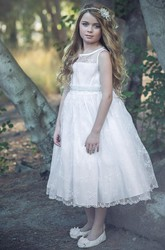 Tea-Length Floral Beaded Lace&Organza Flower Girl Dress With Illusion