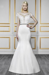 Trumpet Floor-Length Bateau-Neck Cap-Sleeve Jeweled Satin Wedding Dress With Appliques And Illusion