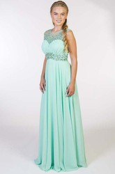 A-Line Sleeveless Crystal Long Scoop-Neck Chiffon Prom Dress With Pleats