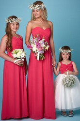 Floor-Length Ruched Sweetheart Sleeveless Chiffon Bridesmaid Dress