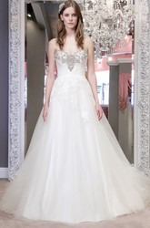 Ball Gown Spaghetti Maxi Tulle Wedding Dress With Appliques And V Back