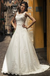 A-Line Scoop-Neck Appliqued Sleeveless Floor-Length Satin&Lace Wedding Dress With Beading