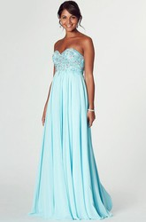 Sweetheart Sleeveless Beaded Chiffon Prom Dress