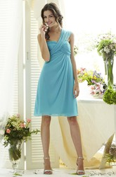 A-Line Short Ruched One-Shoulder Sleeveless Chiffon Bridesmaid Dress
