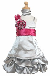 Cape Knee-Length Floral Ruched Satin Flower Girl Dress With Sash