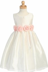 Tea-Length Tiered Organza Flower Girl Dress
