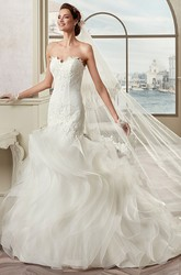 Sweetheart Sheath Mermaid Bridal Gown With Cascading Ruffles And Open Back