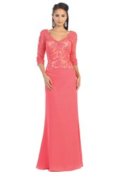Sheath V-Neck Half Sleeve Lace Jersey Low-V Back Dress With Appliques