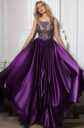 A-Line Floor-Length Scoop Sleeveless Satin Beading Pleats Low-V Back Dress