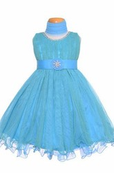 Tea-Length Jewel Pleated Tiered Tulle&Satin Flower Girl Dress
