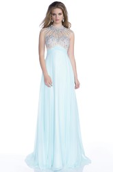 Sophisticated Cap Sleeve Chiffon Prom Dress With Bling Rhinestones Bust