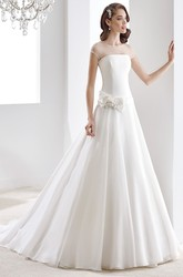 Strapless High-low Wedding Gown with Cascading Ruffles and Pleated Bodice