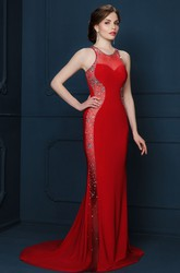 Sheath Sleeveless Beaded Long Scoop-Neck Jersey Evening Dress
