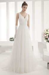 V Neck A-Line Pleated Tulle Gown With Criss Cross Bodice