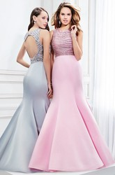 Mermaid Scoop Neck Beaded Sleeveless Satin Prom Dress With Keyhole