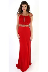 Sheath Long Cap-Sleeve Beaded Scoop Jersey Prom Dress With Keyhole Back And Ruching