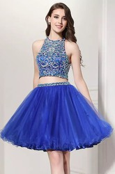 Two Piece Short Mini Sleeveless Halter Beading Pleats Lace Homecoming Dress