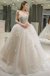 Ball Gown Sweetheart Lace Tulle Zipper Wedding Gown