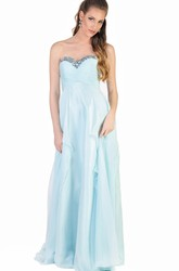 A-Line Floor-Length Sweetheart Sleeveless Beaded Tulle Evening Dress With Draping