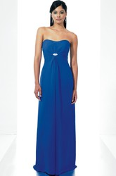 Strapless Ruched Chiffon Bridesmaid Dress With Broach And Draping