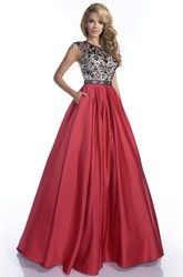Sophisticated A-Line Satin Cap Sleeve Gown With Beaded Bodice