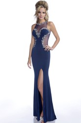 Side Slit Jersey Mermaid Sleeveless Prom Dress With Jeweled Lace Trim