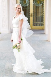 A Line V-neck Chiffon Zipper Wedding Gown