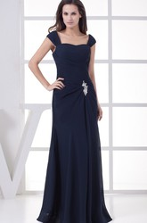 Caped-Sleeve Ruched Floor-Length Chiffon Evening Dress with Broach