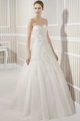 A-Line Draped Sweetheart Long Organza Wedding Dress With Criss Cross And Cape