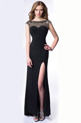 Cap Sleeve Beaded Top Jersey Homecoming Dress Featuring Side Slit