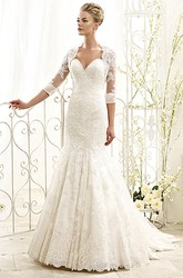 Trumpet Sweetheart Half-Sleeve Maxi Lace Wedding Dress With Appliques